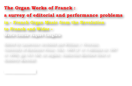 The Organ Works of Franck : 